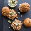 Pulled Chicken Sliders with Apple-Jicama Relish