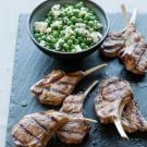 Grilled Lamb Chops with Pea, Feta and Mint Salad