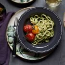 Fresh Fettuccine with Almond Pesto and Roasted Tomatoes