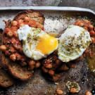 Slow-Cooked Chickpeas on Toast with Poached Eggs