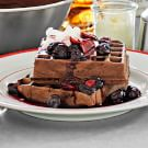 Chocolate Waffles with Cherry Compote and Whipped Cream
