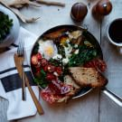 Baked Eggs with Chimichurri and Prosciutto