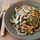 Pea Shoots and Shiitake Mushroom with Soba Noodles