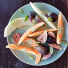 Melon and Fig Salad with Basil Cream