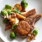 Pork Chops with Roasted Apple, Brussels Sprouts and Bacon