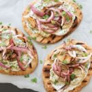 Grilled Naan with Smoky Eggplant Puree and Grilled Red Onions