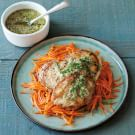 Chicken Cutlets and Carrots with Mint Pesto