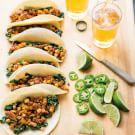 Chorizo, Potato and Spinach Tacos