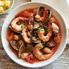 Mediterranean Seafood Stew with Polenta Cubes