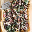 Balsamic-Red Onion, Chard & Gorgonzola Tart