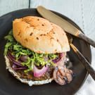 Portobello Burgers with Herbed Chèvre and Grilled Onions