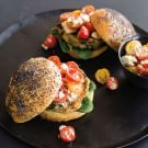 Artichoke-Spinach Burgers with Tomato-Feta Topping