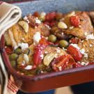 Roast Chicken Thighs with Tomatoes, Olives and Feta