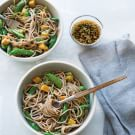 Sesame Soba Noodles with Tofu and Sugar Snap Peas