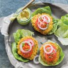 Carrot-Farro Burgers with Curry Aioli
