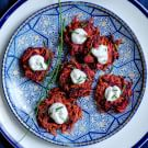 Beet Latkes with Chive Goat Cheese