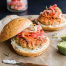 Saigon Salmon Burgers with Carrot-Daikon Slaw