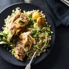 Grilled Chicken with Barley and Leeks