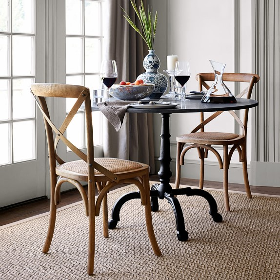indoor outdoor dining table round black granite top williams sonoma
