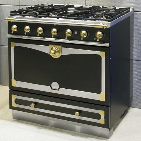 La Cornue Albertine Matte Black Stove with Satin Chrome Polished Brass