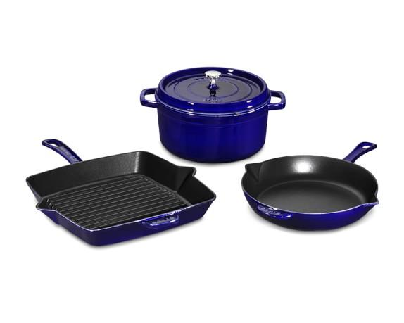 Staub Cast-Iron 4-Piece Cookware Set, Sapphire Blue