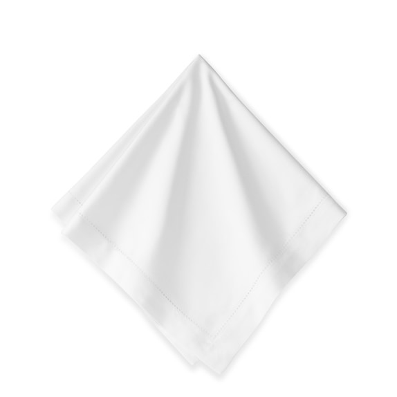 Hotel Hemstitched Dinner Napkins, Set of 12, White
