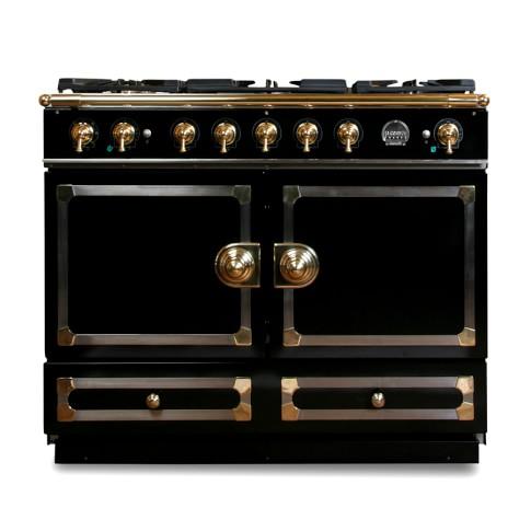 La Cornue CornuFé Stove, Gloss Black with Chrome & Brass