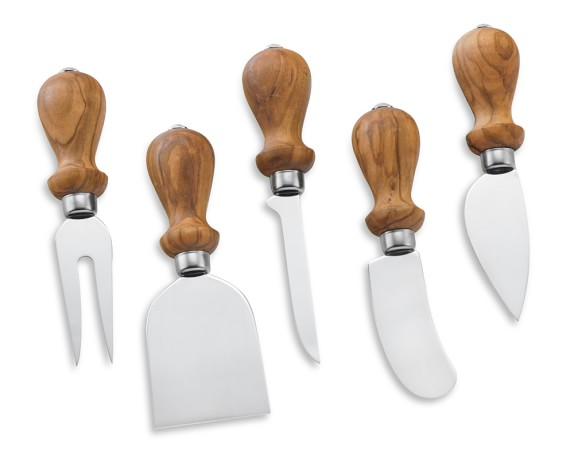 Antonini Olive Wood Cheese Knives, Set of 5