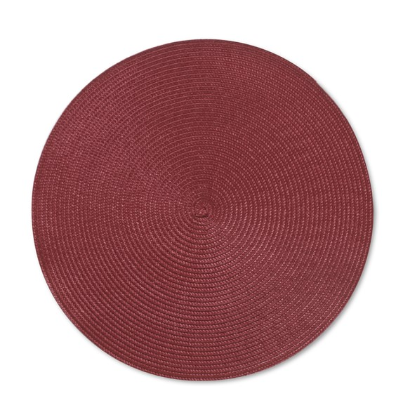 Round Woven Place Mats, Set of 2, Red