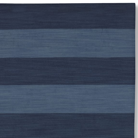 Wide Stripe Dhurrie Rug Swatch, Evening Blue/Dark Blue