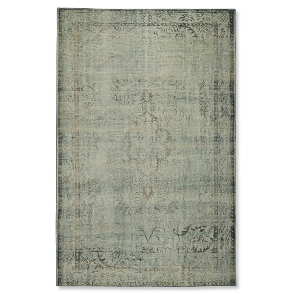 Hand-Knotted Antiqued Sky Rug, 6' X 9', Blue