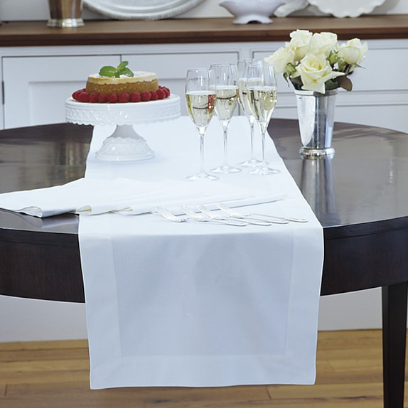 Hotel Table Runner, White