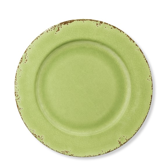 Rustic Melamine Dinner Plates, Set of 4, Leaf Green