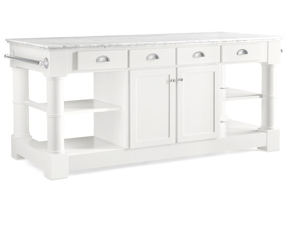 Barrelson Kitchen Island with Marble Top, Polished Nickel