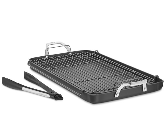Calphalon Unison Nonstick Double Griddle Set with Tongs and Rack