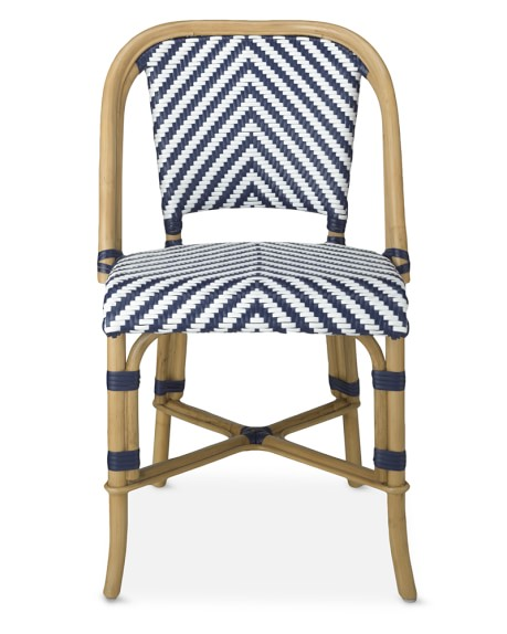 Parisian Bistro Woven Side Chair, Blue/White