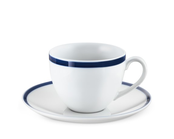 Brasserie Blue-Banded Porcelain Cups & Saucers, Set of 4