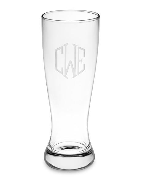 Monogrammed Pilsner Glasses, Triple-Initial, Set of 4