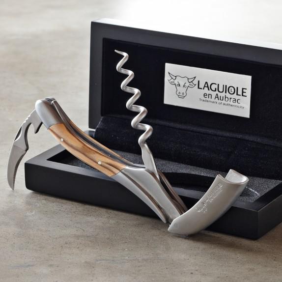Laguiole En Aubrac Waiters Corkscrew Wine Opener, Olivewood