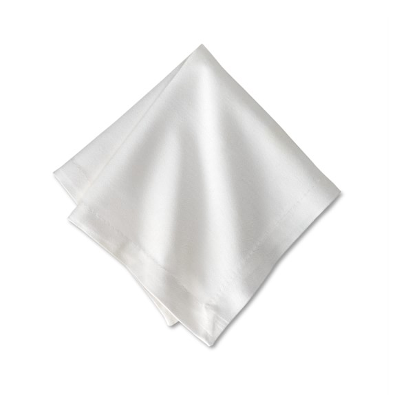 Hotel Cocktail Napkins, White, Set of 12