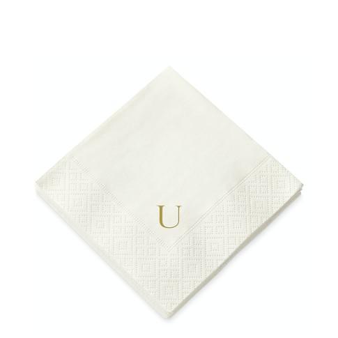 Monogrammed Paper Cocktail Napkins, Set of 40, U