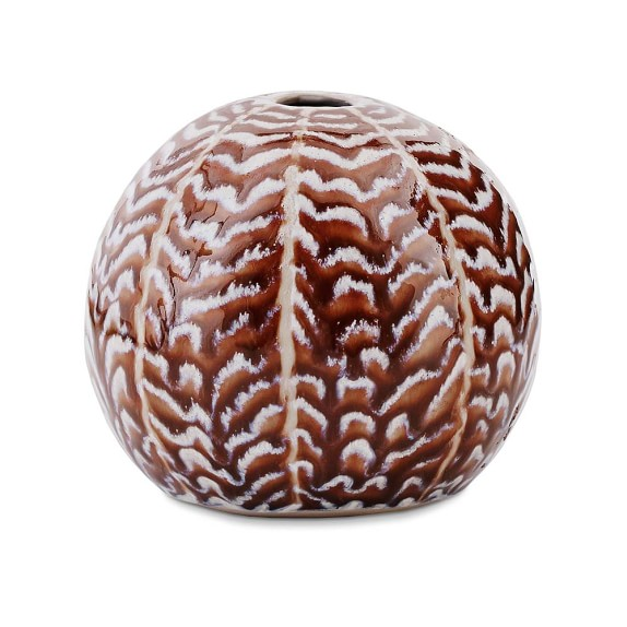 Ceramic Herringbone Vase, Round, Chocolate