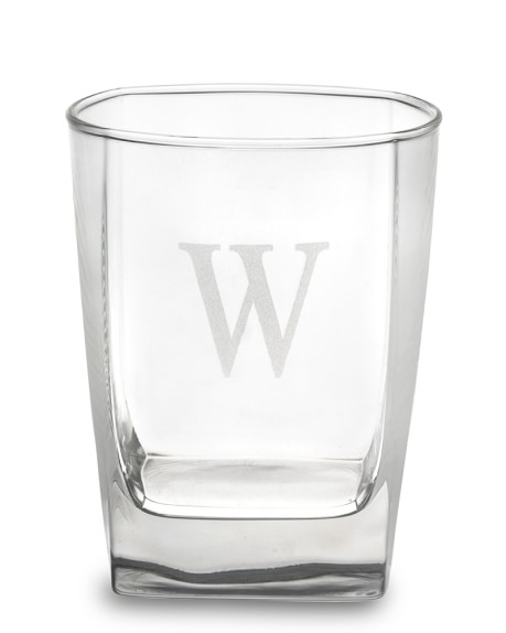 Monogrammed Square Double Old-Fashioned Glasses, Single-Initial, Set of 4