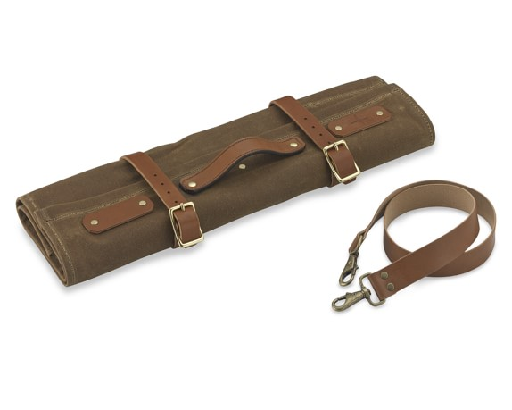 Town Cutler Canvas & Leather Knife Roll, Brown