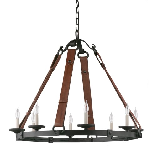 Equestrian Leather Tack Chandelier, Aged Iron