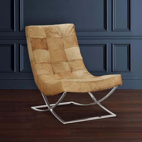 James Nickel & Leather Chair, Hair On Hide, Serengeti, Beige