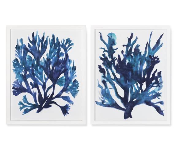 Oversized Indigo Coral Print, Set of 2