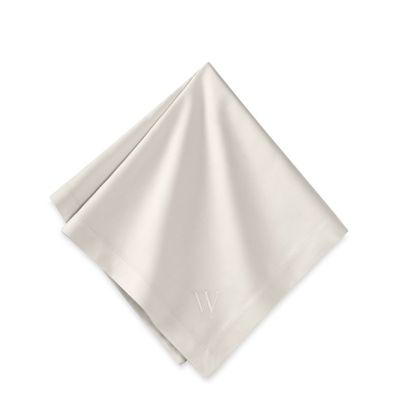 Monogrammed Hotel Dinner Napkins, Ivory, Set of 6