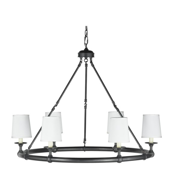 Devon 6-Light Chandelier with Shades, Oiled Bronze