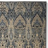Hand Knotted Wool & Silk Ikat Rug Swatch, Blue